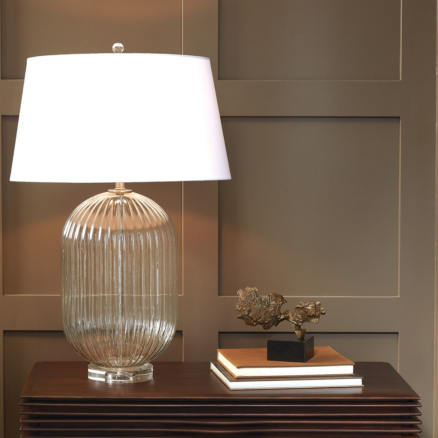 global views ribbed clear lamp styled