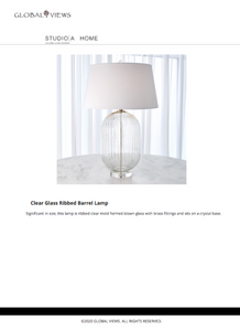 global views ribbed clear lamp tearsheet