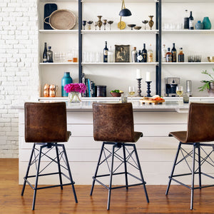 four hands draw counter stool styled in room