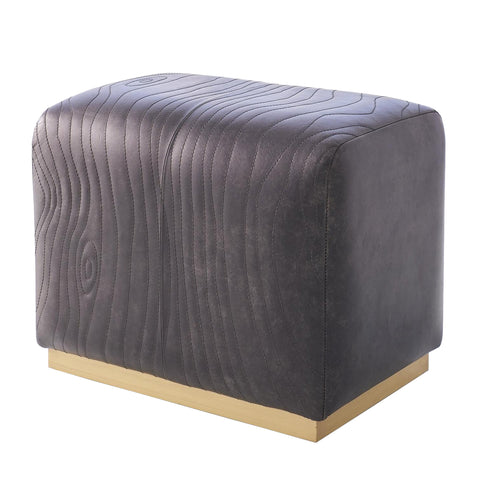 Global Views Forest Ottoman Charcoal Leather