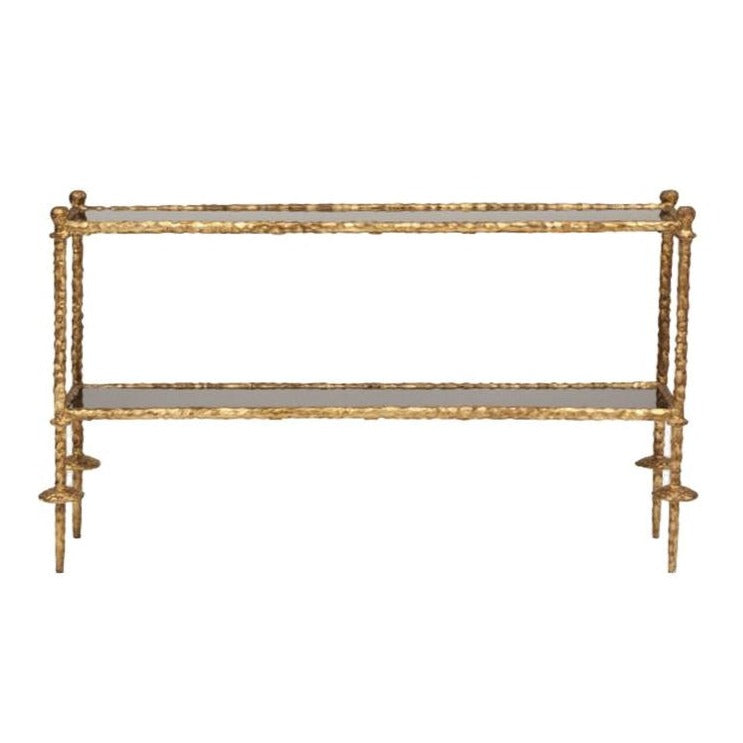 global views gold chiseled console black granite entry sofa table