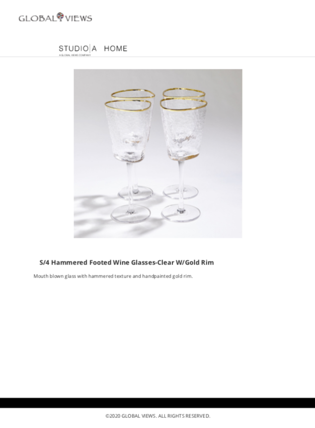 global views hammered footed wine glasses with gold trim tearsheet
