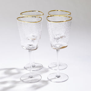 global views hammered footed wine glasses with gold trim styled