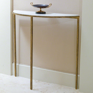 global views hammered gold console table demilune marble brass narrow