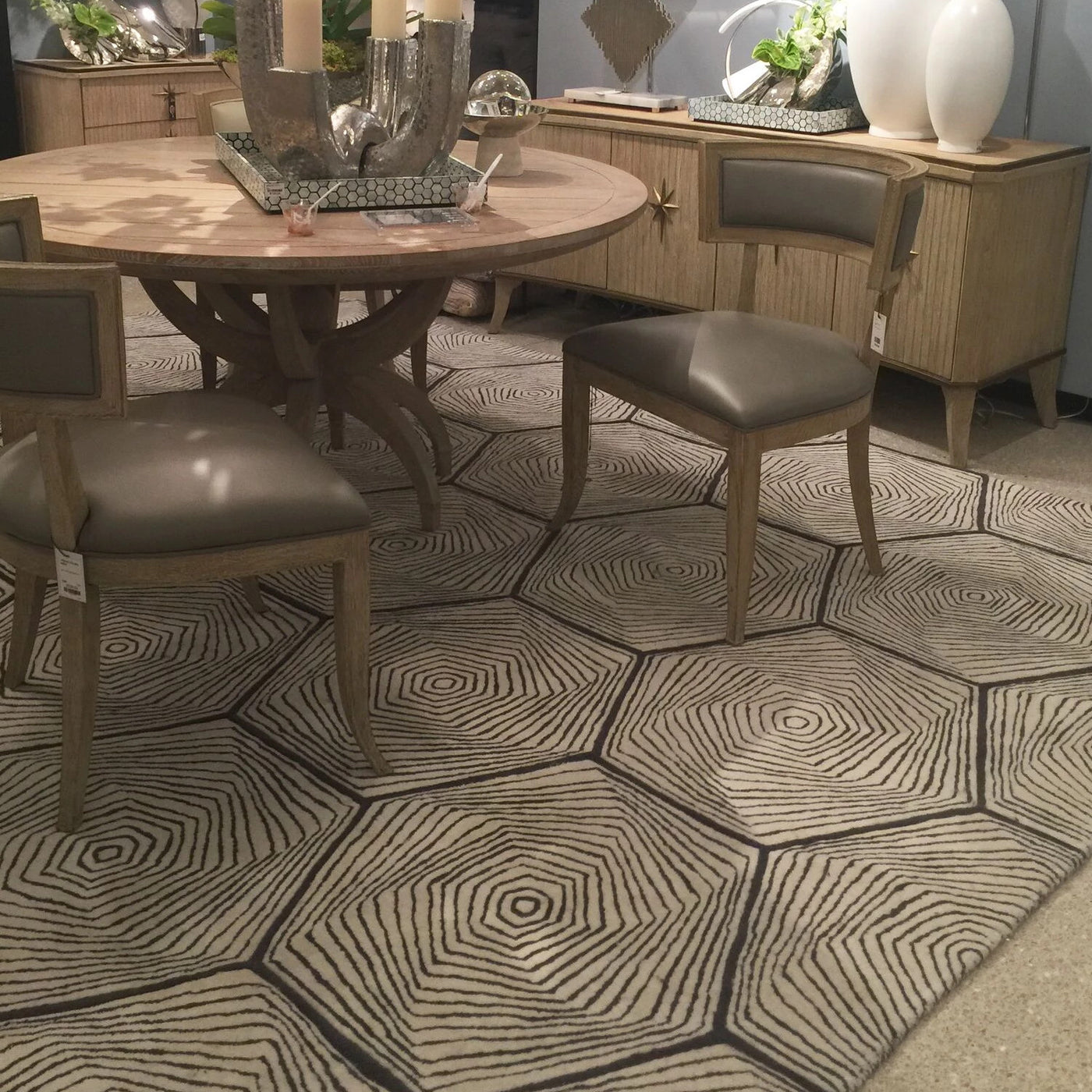 global views hex swirl rug shown in room