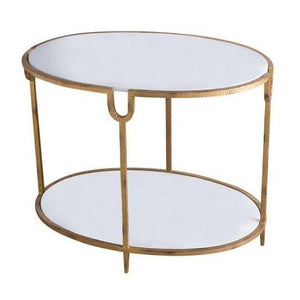 global views iron and stone side table oval occasional table