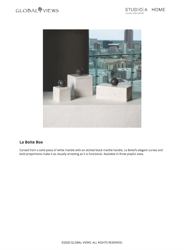 global views la boite box set tearsheet