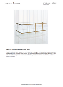 global views laforge cocktail table antique gold tearsheet