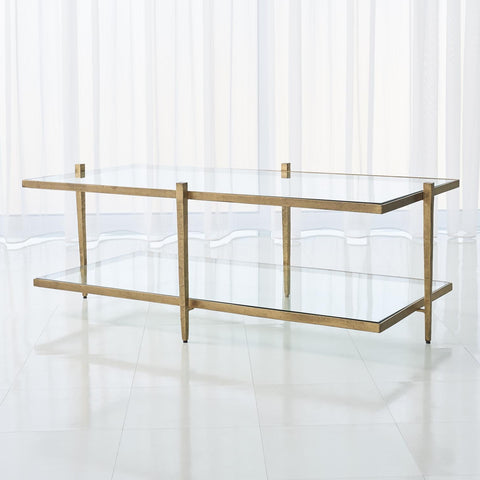 global views laforge cocktail table antique gold