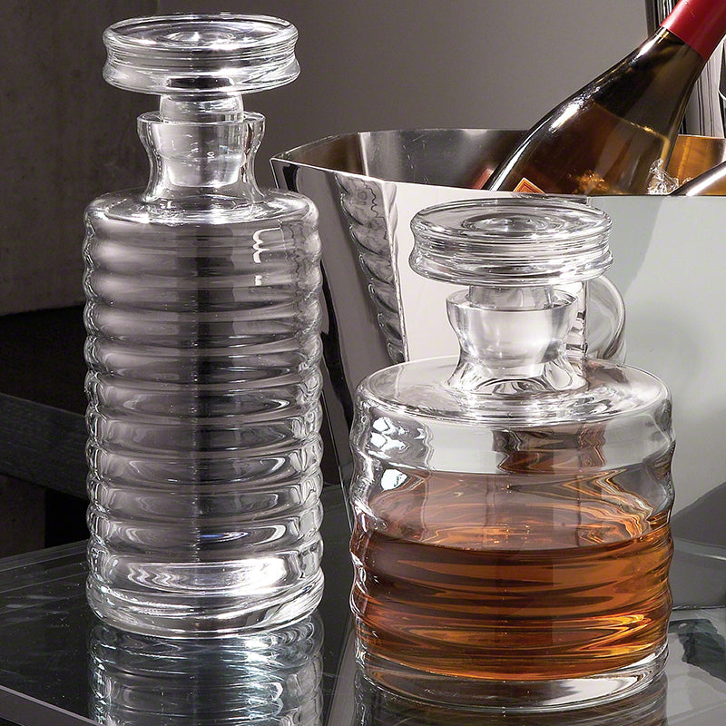 global views ribbed decanters tall and short