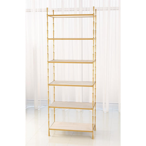 global views spike etagere antique brass and white marble