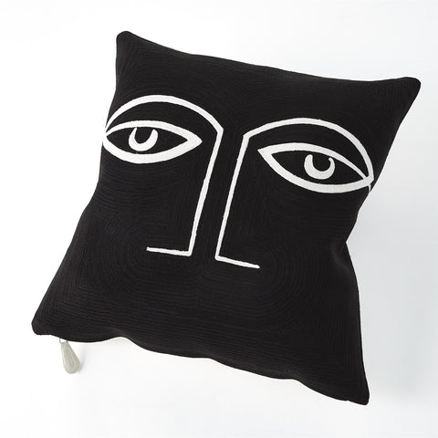 global views two eyed pillow black side