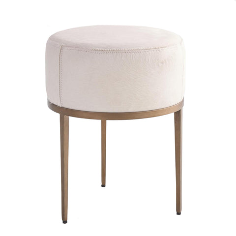 global views urbans stool ivory hair on hide antique brass tearsheet