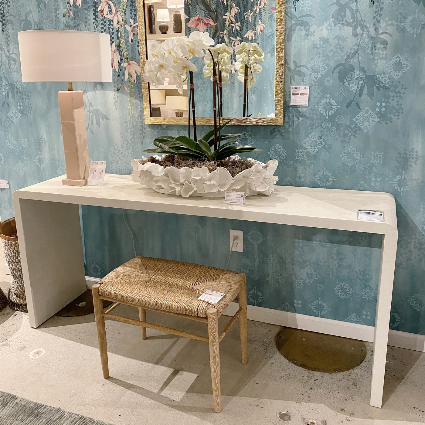 made goods Harlow 72 console blanc faux shagreen