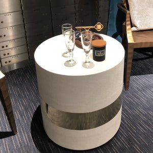 Maxine Side Table Brass and Snow Faux Shagreen