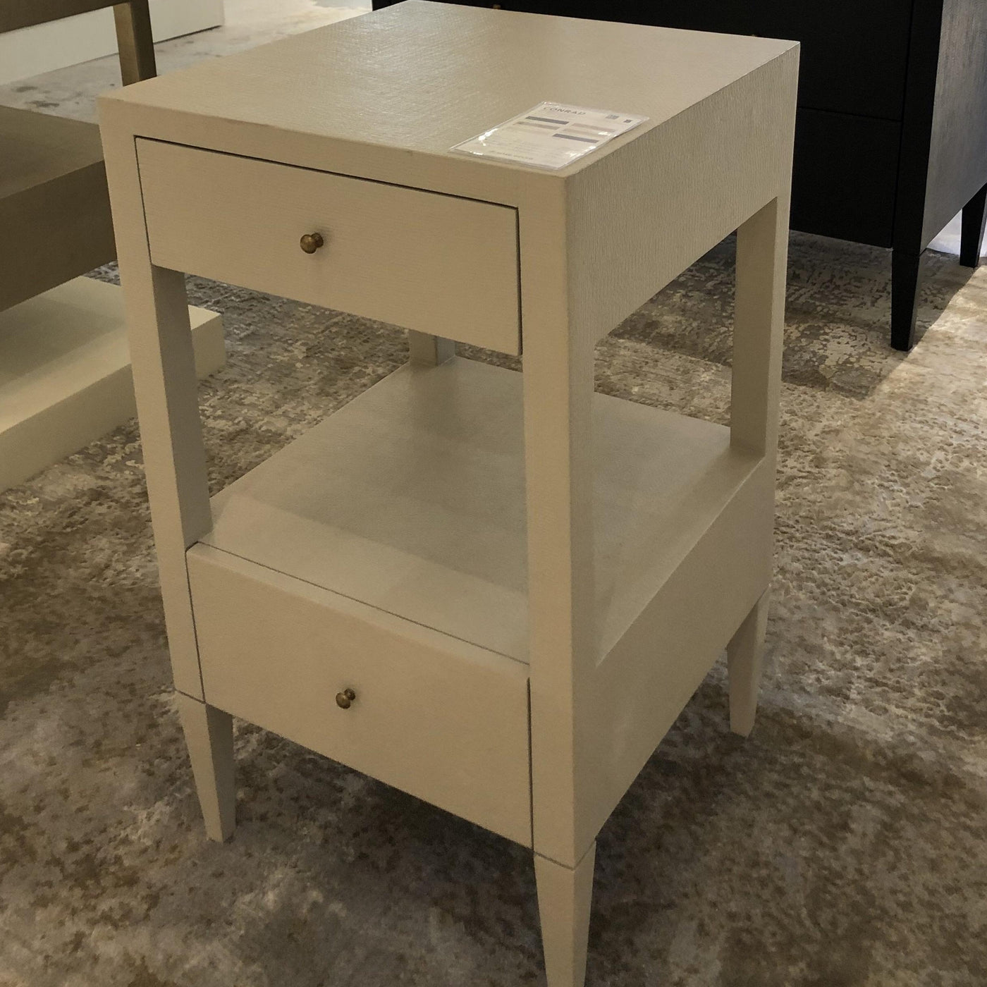 Conrad Low Single Nightstand Off White Faux Raffia