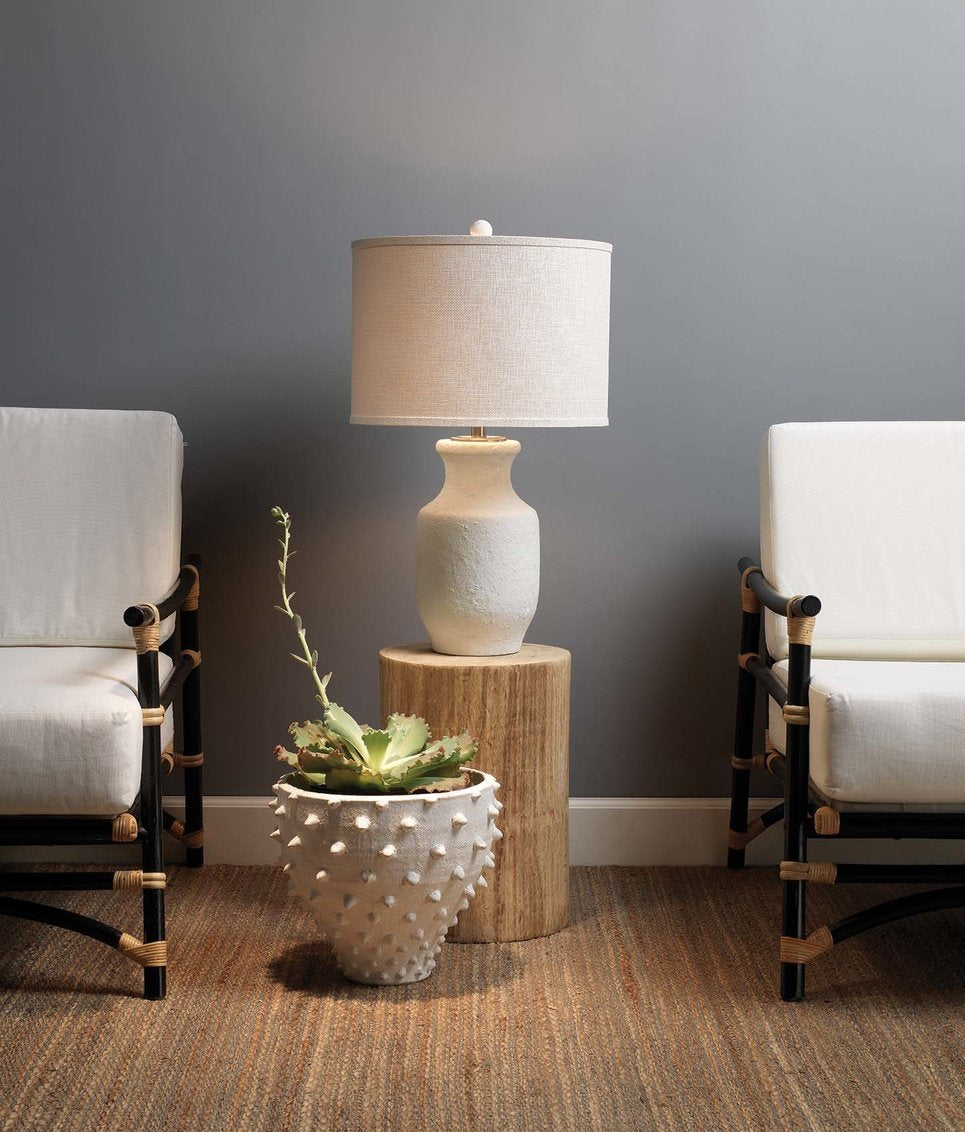 jamie young agave side table styled in room