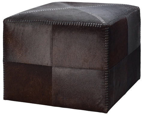 jamie young large brown hide ottoman