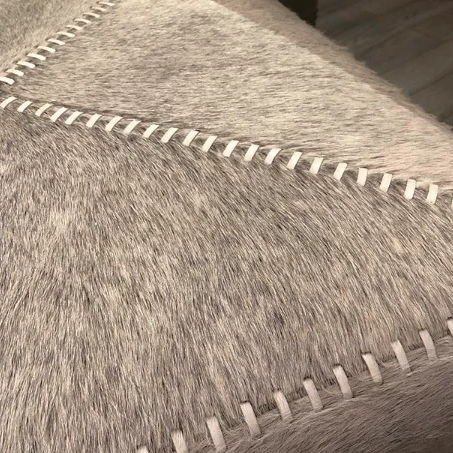 jamie young grey hide ottoman close up