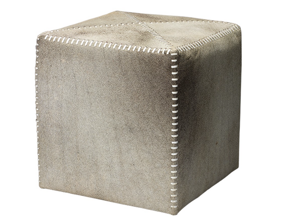 Jamie Young Grey Hide Ottoman Small Stool Hide Cowhide