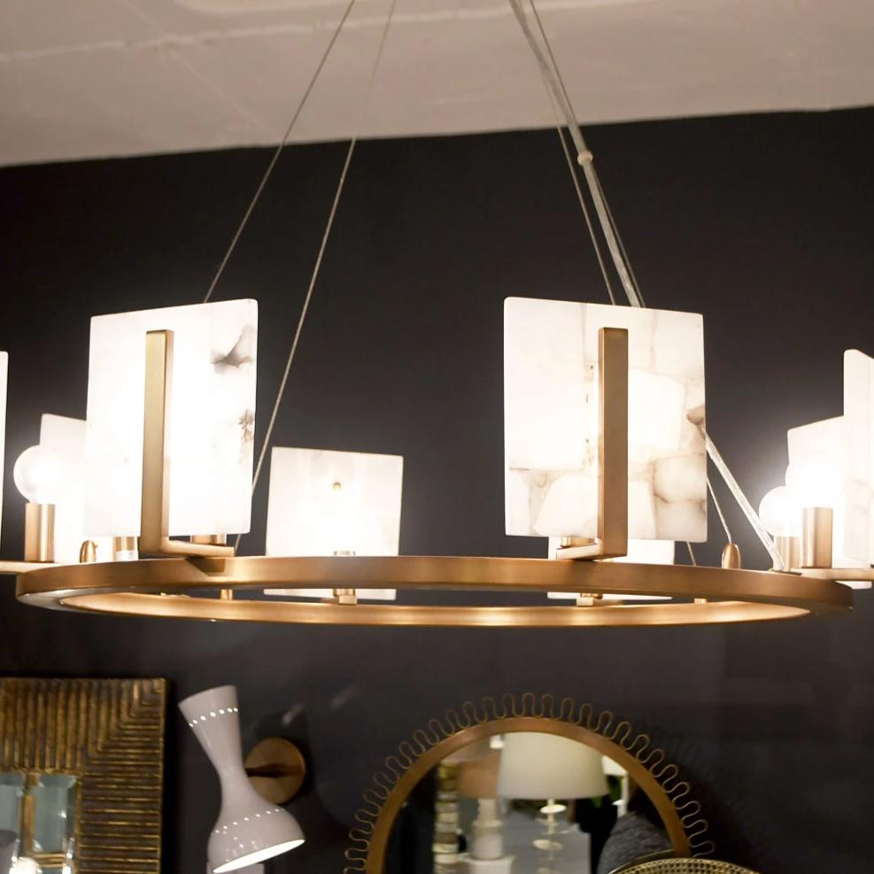 Jamie Young Halo Chandelier Large Alabaster Brass