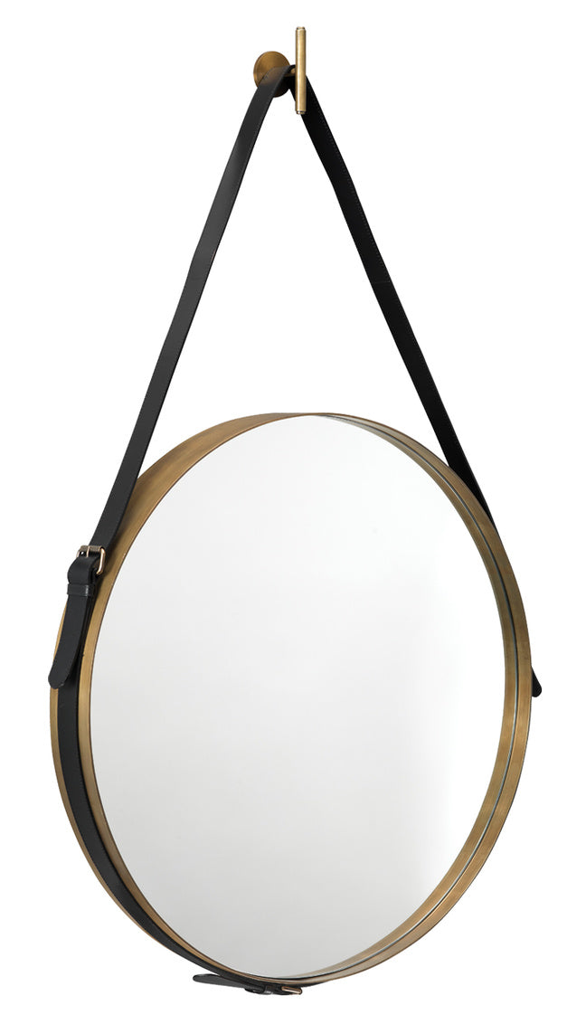 jamie young large round mirror brass side