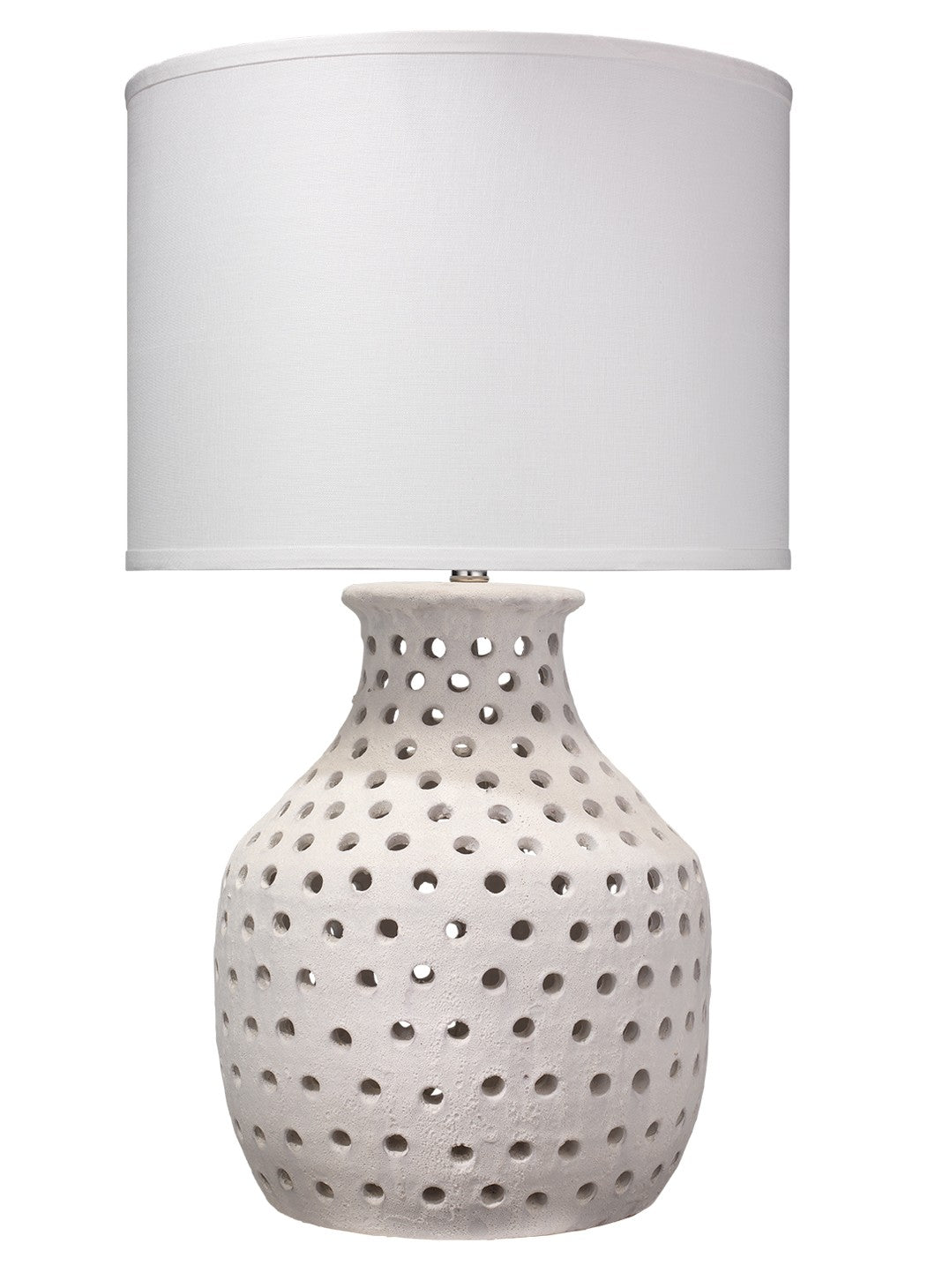 jamie young porous table lamp white base white shade