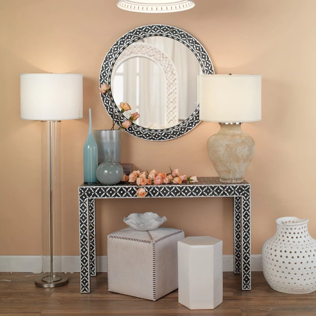 jamie young porto side table small and large styled