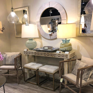 jamie young owen mirror grey round wood showroom