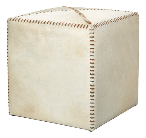 jamie young small ottoman white hide
