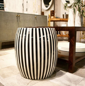 made goods janson striped stool black and white indoor outdoor seating extra seating side table stool market