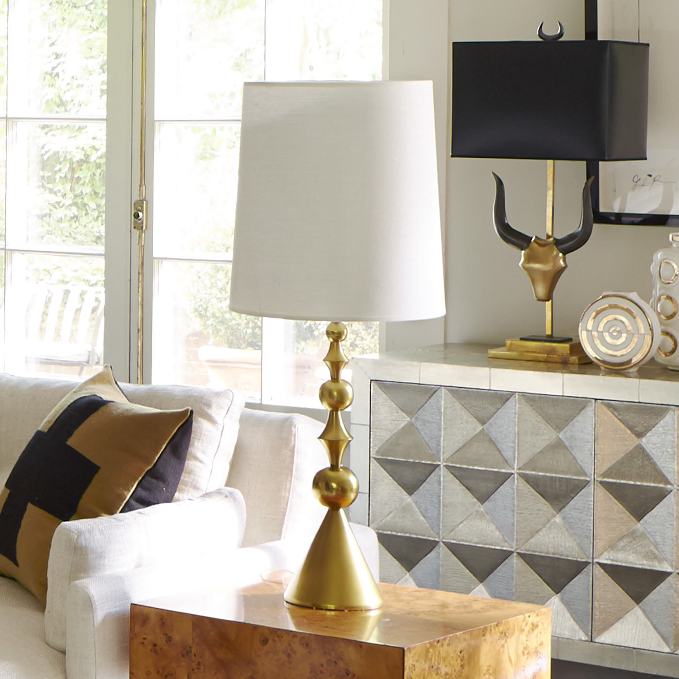 jonathan adler harlequin lamp brass white shade