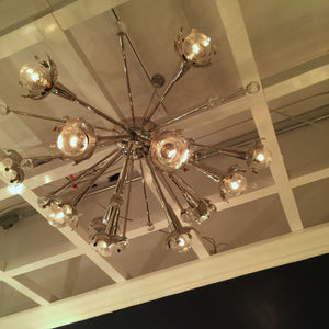 jonathan adler sputnik flush mount chandelier brass room view