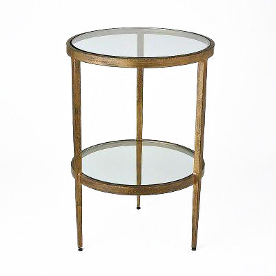 studio a two tiered side table antique gold
