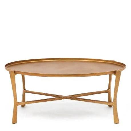 Made Goods Addison Oval Coffee Table Aged Brass