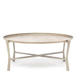 Made Goods Addison Oval Coffee Table Aged Silver