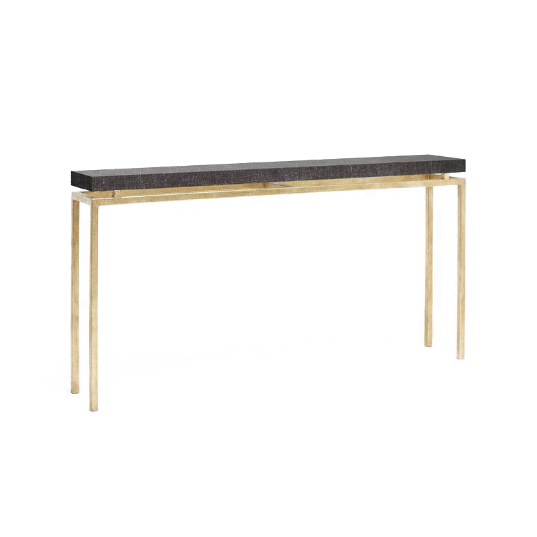 made goods benjamin narrow console charcoal and gold