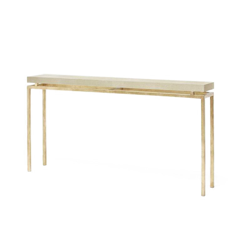 White Resin Folding Table, Made Goods Benjamin Narrow Console Table Gold