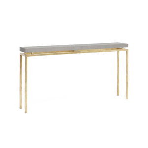 made goods benjamin narrow console sand and gold