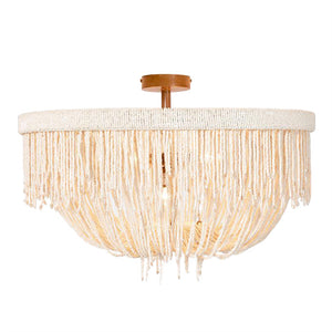 made goods carmen semi flush mount chandelier natural coco beads