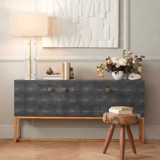 Superbe Made Goods Dallon Three Door Buffet Grey Gray Dresser Console Table Dining  Room Furniture Grey