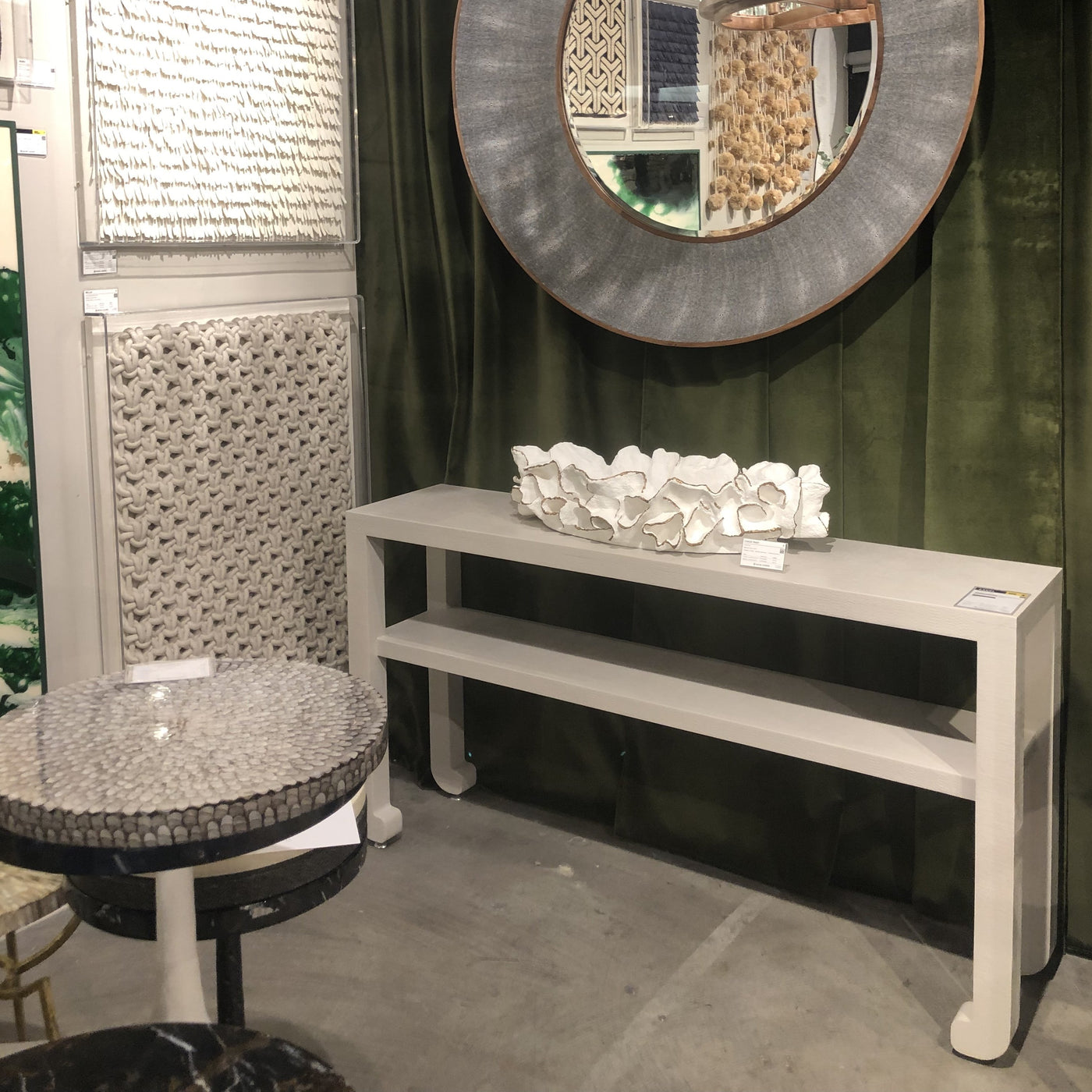 made goods coco tray white gold trim showroom