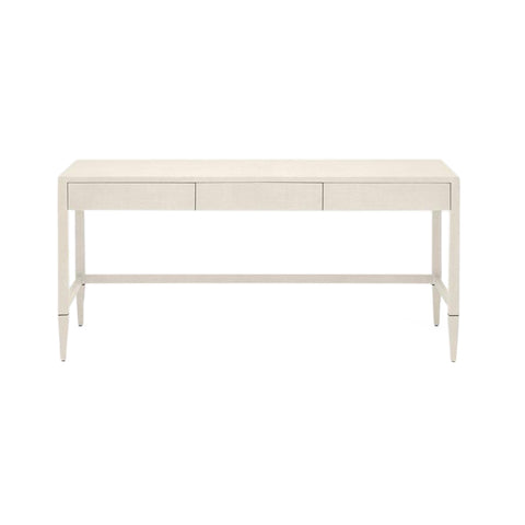 Conrad 3 Drawer Desk Off White Faux Raffia
