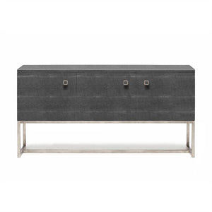 made goods gallon three door buffet cool gray faux shagreen with silver