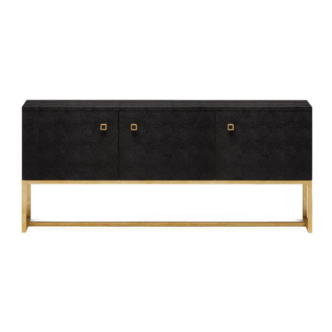 made goods dallon buffet black shagreen and gold steel three door