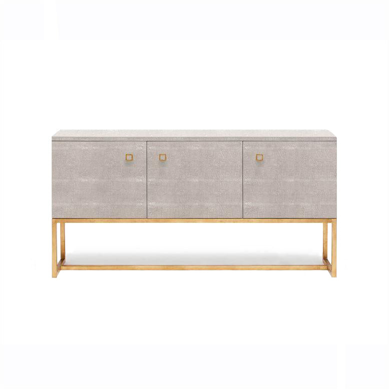 Dallon Three Door Buffet in Sand Faux Shagreen and gold