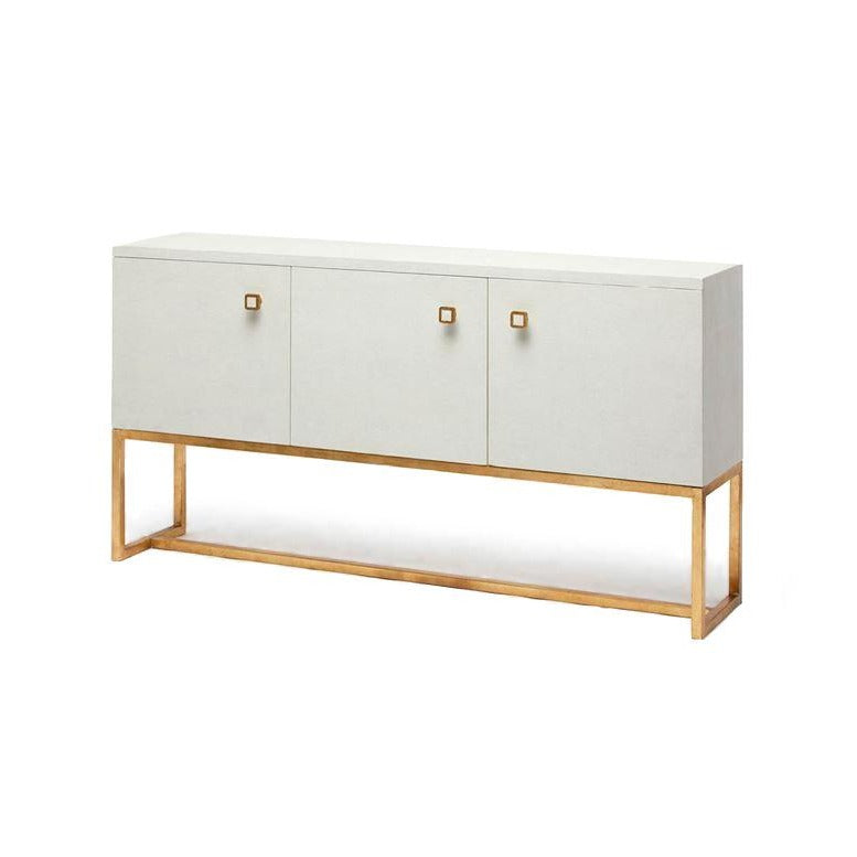 Dallon Three Door Buffet in Snow Faux Shagreen and Gold angle