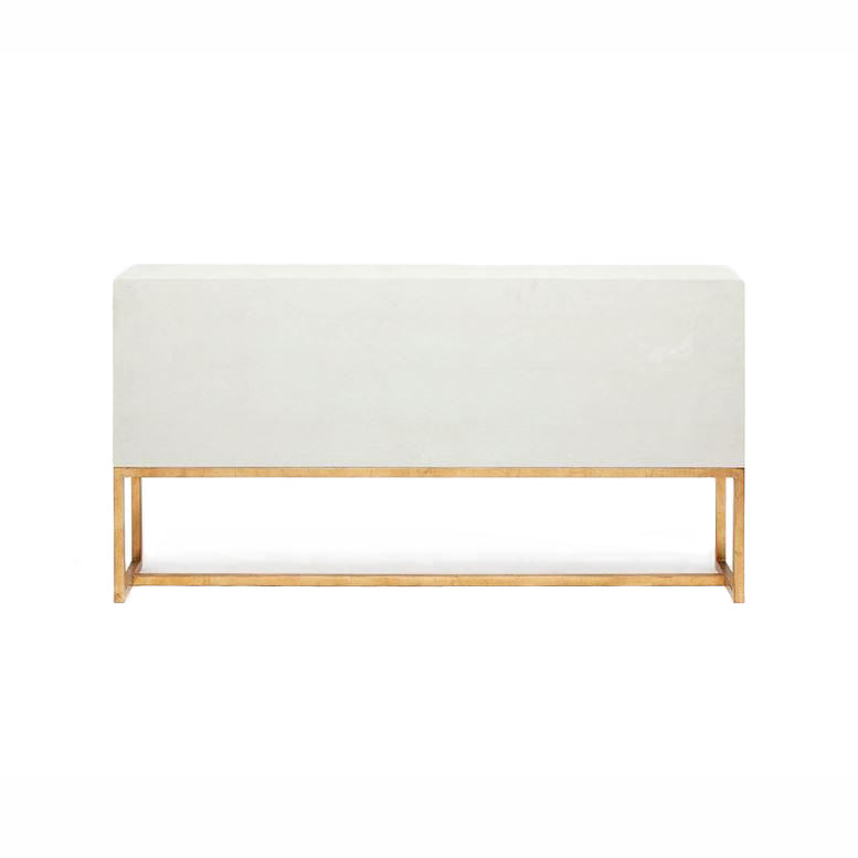 Dallon Three Door Buffet in Snow Faux Shagreen and Gold back