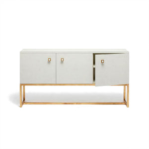 Dallon Three Door Buffet in Snow Faux Shagreen and Gold door open