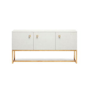 Dallon Three Door Buffet in Snow Faux Shagreen and Gold
